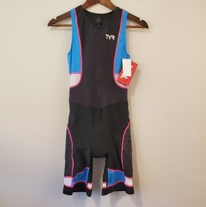 TYR competition suit blue pink black size large